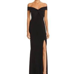 Bloomingdale's Aqua black off the shoulder dress